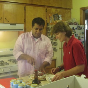 Suvir and Ellen in our kitchen.