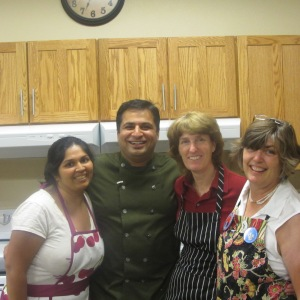 Suvir with the kitchen crew.